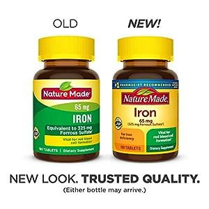 Nature Made Iron 65 mg Tabs, 180 ct (2612)