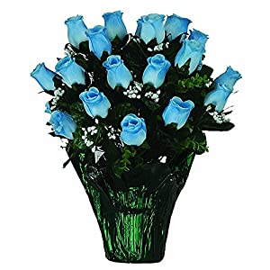 Ruby's Silk Flowers Blue Rose with Babys Breath Artificial Weighted Potted Bouquet (PT1653) 65