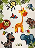 KC CUBS Boy and Girl Bedroom Modern Decor Area Rug and Carpet Collection For Kids and Children Happy Animal Nursery Friends (5' 3'' x 7' 3'')