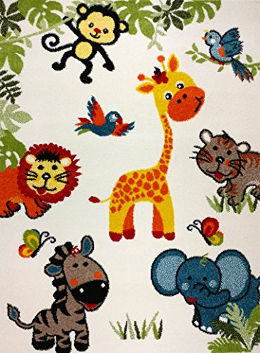KC CUBS Boy and Girl Bedroom Modern Decor Area Rug and Carpet Collection For Kids and Children Happy Animal Nursery Friends (5' 3'' x 7' 3'') by KC Cubs