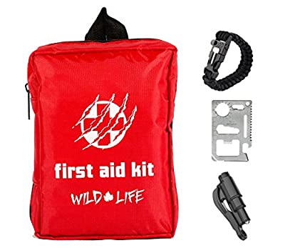 Survival Kit Ideal for Camping, Hiking, Travel & Car with First Aid Kit, Paracord Compass Fire starter Bracelet, Compact Multi Tool, and Emergency Vehicle Escape Tool (82 pieces) from Wild Life