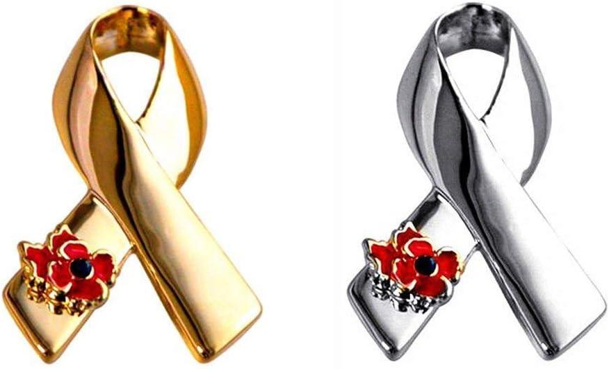 CRAZYON Fashion Ruban Coquelicot Broche Pin Cancer Badge Breastpin soir/ée Bijoux