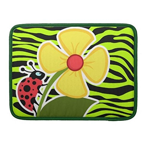 Laptop Sleeve 17 Inch Ladybug On Chartreuse Zebra Stripes Animal Print Laptop Computer Sleeve Notebook/MacBook Pro/MacBook Air Laptop