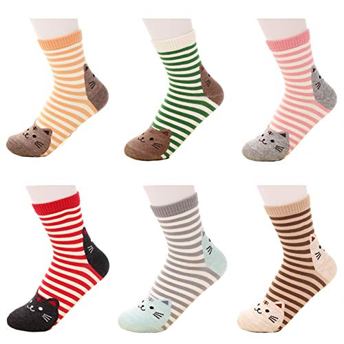 ACHIEWELL Women's Cute Animal Cotton Socks One Size Fits All | 5 Pairs (One Size, Cat 6 Pairs) ()