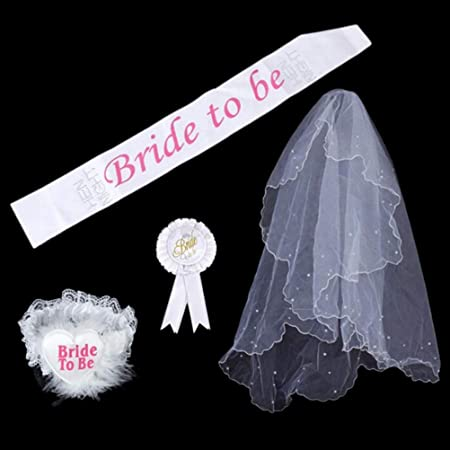 WHITE WITH GOLD BRIDE TO BE ROSETTE HEN NIGHT PARTY DO ACCESSORY