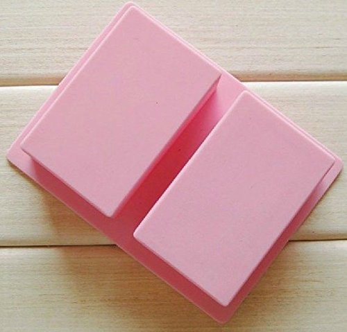 Cake Soap Mold 2-Oblong Rectangle Flexible Silicone Mould For Candy Chocolate