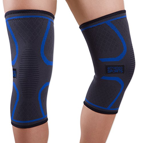 Athletec Sport Knee Compression Sleeve for Knee Pain, Joint Pain, Arthritis Relief, Meniscus Tear and Injury, Support for Running, Walking, Workout, Recovery - Size X-Large in Black (Pair)