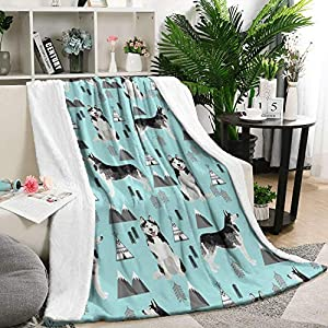 Unicorns Farting Siberian Husky Dog and Mountains Summer Thick Blanket Cozy Couch Warm Throw Blanket Flannel Fleece Blanket, 59 X 79 Inch 2