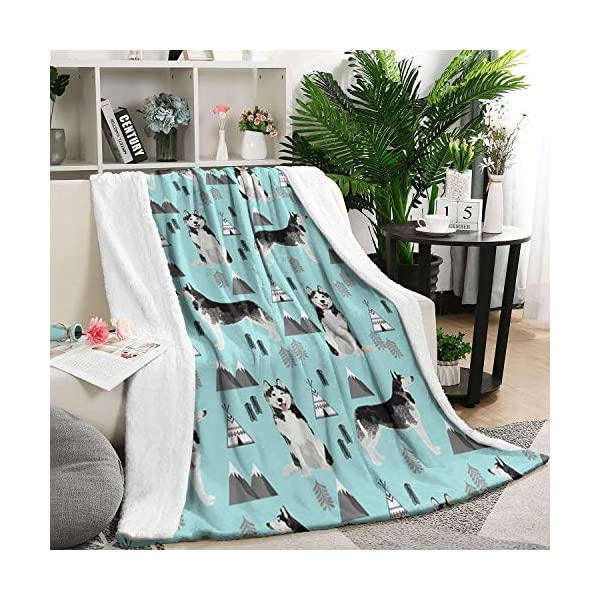 Unicorns Farting Siberian Husky Dog and Mountains Summer Thick Blanket Cozy Couch Warm Throw Blanket Flannel Fleece Blanket, 59 X 79 Inch 1