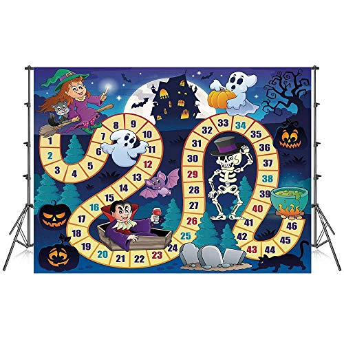 Board Game Stylish Backdrop,Halloween Theme Symbols Happy Witch Girl Vampire Ghost Pumpkins Happy Comic for Photography Festival Decoration,86''W x 59''H