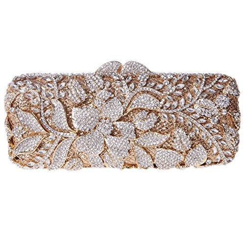 Damen Clutch Abendtasche Handtasche Geldbörse Funkelt Glitzer Kristall Luxus Blüte Lang Tasche mit wechselbare Trageketten von Santimon(4 Kolorit) Gold NudN9LGwr