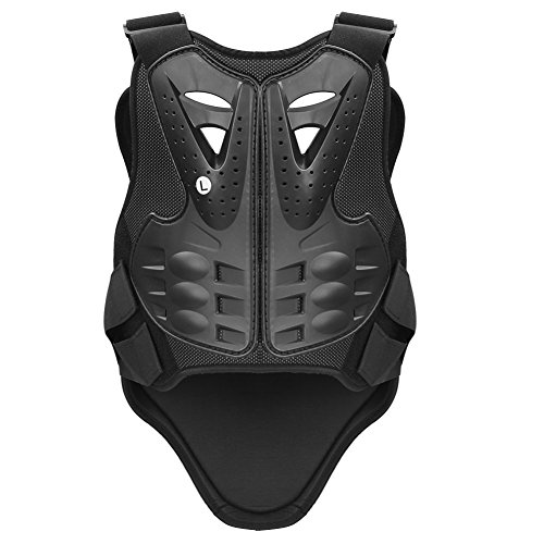 Pellor Cycling Skiing Riding Skateboarding Chest Back Spine Protector Vest Anti-fall Gear Motorcycle Jacket Motocross Body Guard Vest (Black, L: For height:1.7-1.9m/5.6-6.2ft)