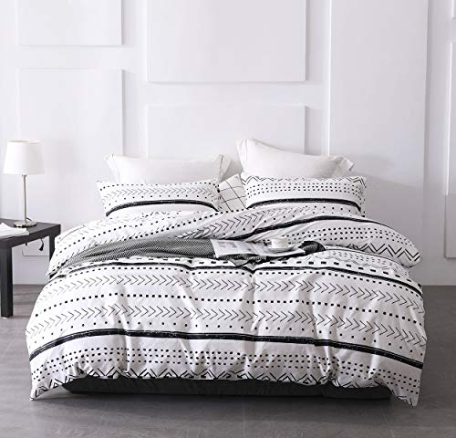 SLEEPBELLA Duvet Cover Set 100% Cotton 3pc Bohemia White Bedding Sets Herringbone Stripe Geometric Pattern Design with Button Closure Ultra Soft Hypoallergenic(Queen, White Geometric)