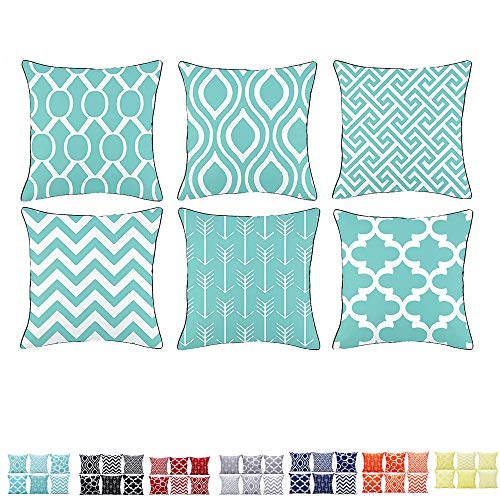 Alimama,Cotton Linen Digital Printed Geometric Pillowcases 18 x 18 Inch with Meaningful Pastoral Colors with Piping for Soft Home Decorate Cushion Covers Sham, Pack with 6 Pcs 45x45cm, Aqua