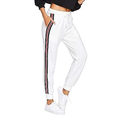 Pantalon Femme Taille Haute Rayure - Sunenjoy Legging de Sport Yoga Jogging  Running Fitness Slim Taille eb11745b443