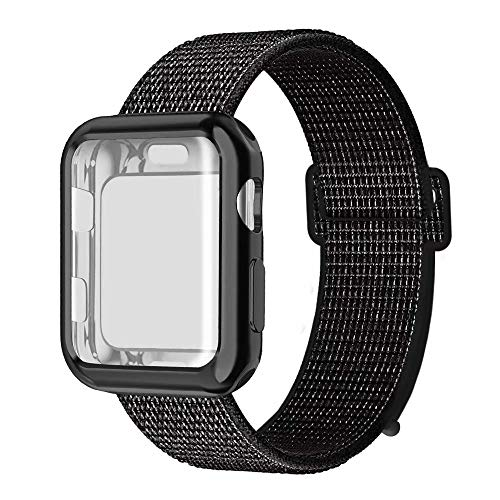 (QIENGO Compatible with Apple Watch Band with Case 44MM, Soft Nylon Strap with Silicone Screen Protector, Replacement for iWatch Sport Series 4 (Blacknike, 44mm))