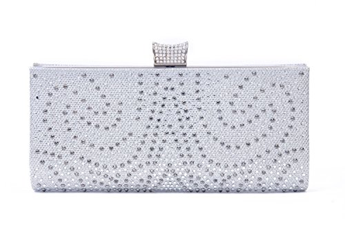 Damara Revets Womens Gauze Paillette Damara Revets Paillette Satin Gauze Evening Bags silver Womens fIqwRgw