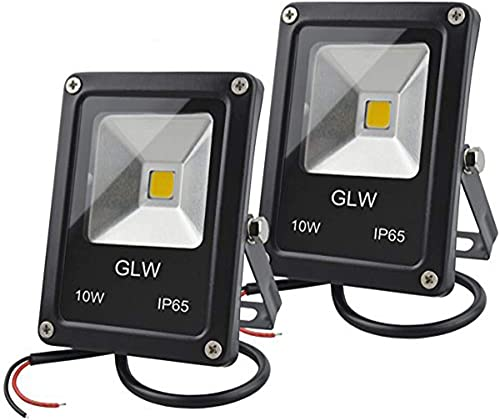 GLW 12V AC or DC LED Flood Light,10W Mini IP65 Waterproof Outdoor Light,900LM,3000K,Warm White Security Light,80W Halogen Bulb Equivalent with Spike Stand 2 Pack