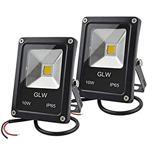 GLW 12V AC or DC LED Flood Light,10W Mini IP65 Waterproof Outdoor Light,900LM,3000K,Warm White Security Light,80W Halogen Bulb Equivalent[2 Pack]