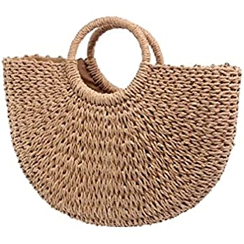 d5720151ad Andear Womens Vintage Straw Woven Handbags Large Casual Summer Beach Tote  Bags With Round Handle Ring 1-a