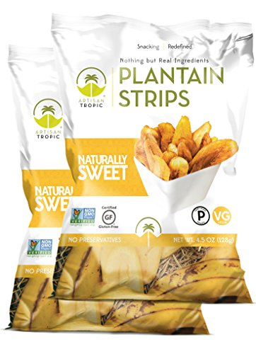 Artisan Tropic Plantain Strips Naturally Sweet - Your Tasty and Healthy Snack Alternative - Paleo, Gluten Free, Vegan, Non-GMO - Made With Sustainable Palm Oil and No Added Sugar 4.5 Oz (2 Pack)