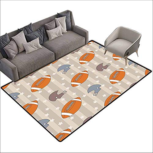 Children's Rugs Playrug Rugs Football Faded Stars and Stripes with Classical Sports Symbols USA Retro Tile Breathability W6' x L6'10 Orange Mauve Slate Blue