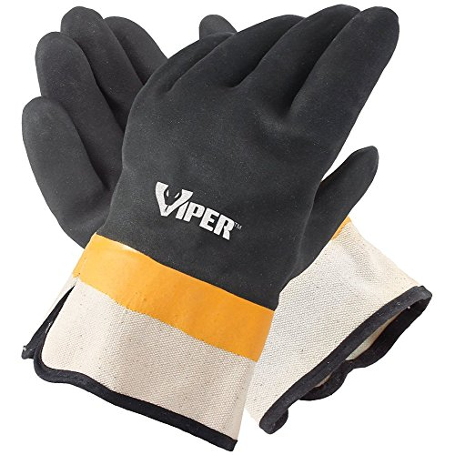 Galeton 7110 Viper Double Coated PVC Gloves, Safety Cuff, Large ,Black (Pack of - Large Viper