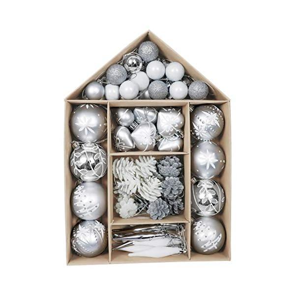 Victor's Workshop 70 Pezzi di Palline di Natale, 3-6 cm congelato Inverno Argento e Bianco Infrangibile Ornamenti Palla di Natale Decorazione per la Decorazione Dell'Albero di Natale 1 spesavip