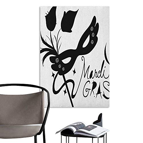 Retro Poster Decorative Painting Mardi Gras Classical Mask with Flowers Feathers Stylized Calligraphy Star Silhouettes Black and White Home Decor W8 x H10 for $<!--$9.90-->