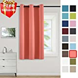 Yakamok Room Darkening Thermal Insulated Blackout Curtains - Soundproof Energy Saving Soft Polyester Drapery for Bedroom/Baby Room (Single Panel, 42 Inch Wide by 63 Inch Long, Coral)