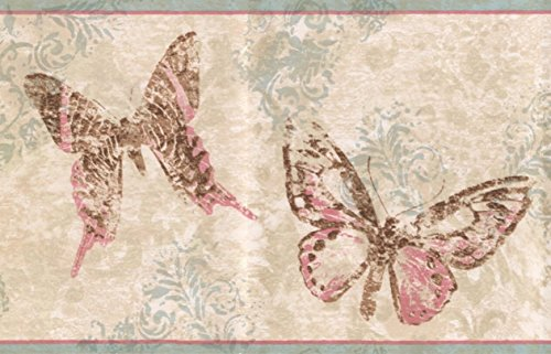 Wallpaper Pink Border Butterfly (Abstract Rose Pink Brown Butterflies Beige Wallpaper Border Retro Design, Roll 15' x 7