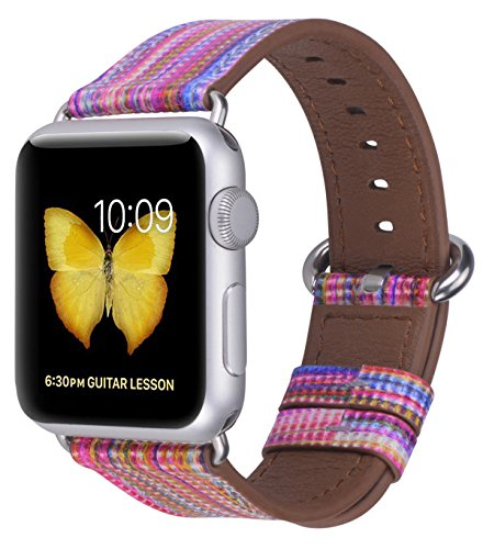 JSGJMY Compatible with Iwatch Band 38mm 40mm 42mm 44mm Women Men Genuine Leather Replacement Strap Compatible with Series 4/3/2/1 Sport Edition (Rainbow, 38mm 40mm S/M)