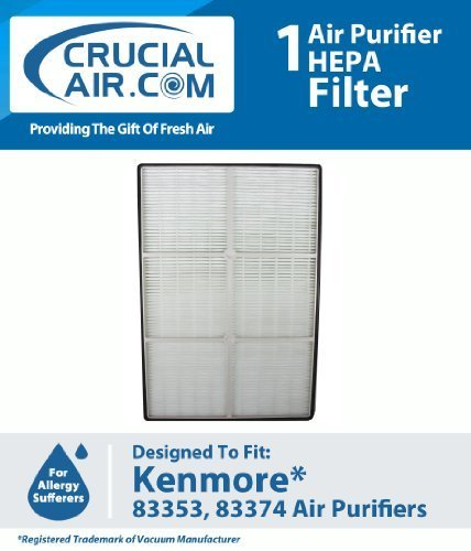 New High Quality HEPA Air Purifier Filter Designed To Fit Kenmore Air Purifier Models 83353 and 83374, Compare To Kenmore Part # 32-83374, 83353, 83374, 83234, Designed & Engineered By Crucial Air