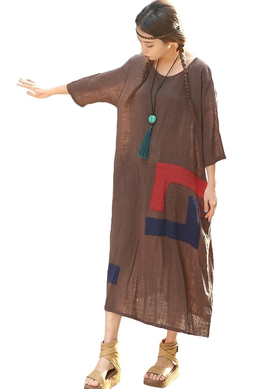 Vogstyle Damen 3/4 Arm Dress Baumwolle Leinen Patchwork Kleider