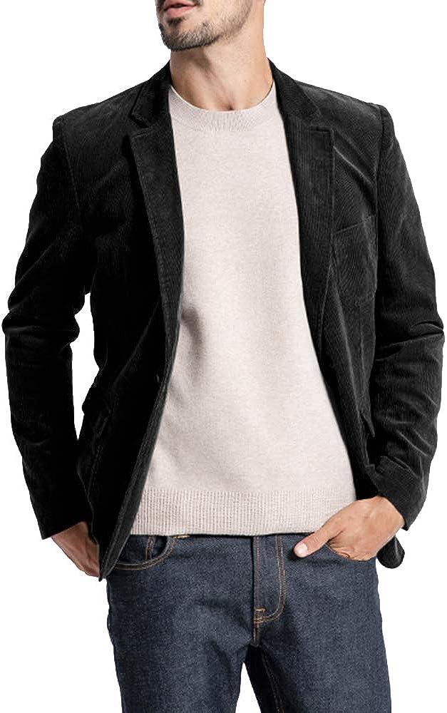 Mens Corduroy Blazer Slim Fit Fall Retro Sport Coat One Button Notch Lapel Casual Winter Suits Jacket