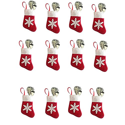 Santa Mini Stocking (12Pcs Mini Cute Christmas Stocking Dinnerware Cover Xmas Knife And Fork Bags Decorations)