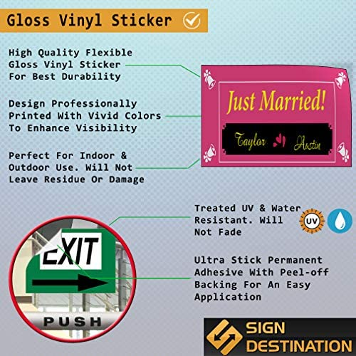 Custom Door Decals Vinyl Stickers Multiple Sizes Just Married Bride Groom Name Lifestyle Wedding Outdoor Luggage /& Bumper Stickers for Cars Pink 58X38Inches 1 Sticker