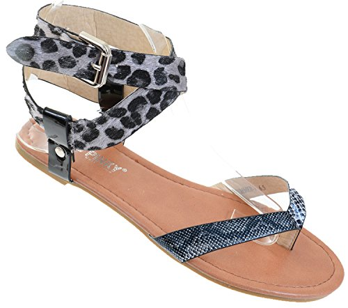 Leopard Criss Cross Anklet Thong Sandal Womens Vegan Leather Z4Bl1qp