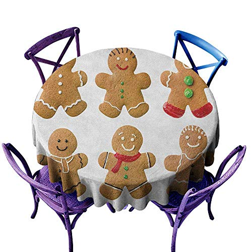 ONECUTE Indoor/Outdoor Round Tablecloth,Gingerbread Man Vivid Homemade Biscuits Sugary Xmas Treats Sweet Tasty Pastry,Party Decorations Table Cover Cloth,35 INCH Pale Brown Red Green -