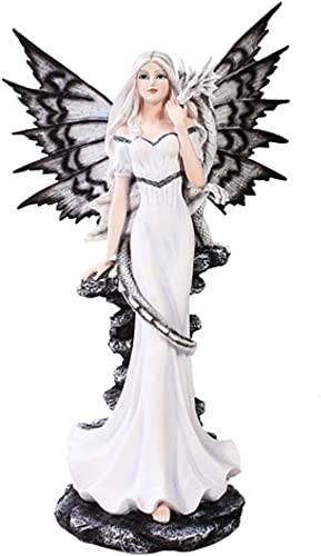 Extra Large White Tribal Fairy Dragon Statue Finish Made of Polyresin