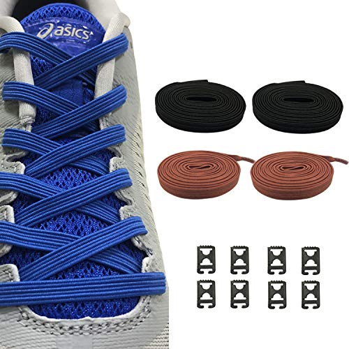 2 Pairs No Tie Shoelaces Elastic Shoe Laces - One Size Fits All Adult and Kids Shoes (1 Pair Black & 1 Pair Brown)