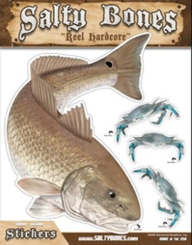 (Salty Bones Large Redfish Action Decal - 13.5