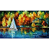 paint colors for living rooms Sunding Art Modern Abstract Artwork Hand-Paints Modern Wooden Framed Canvas Paintings A Boat on The Lake Wall Art for Living Room Decoration