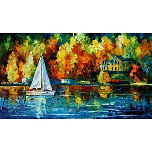 Painting Wooden Boat - Sunding Art Modern Abstract Artwork Hand-Paints Modern Wooden Framed Canvas Paintings A Boat on The Lake Wall Art for Living Room Decoration