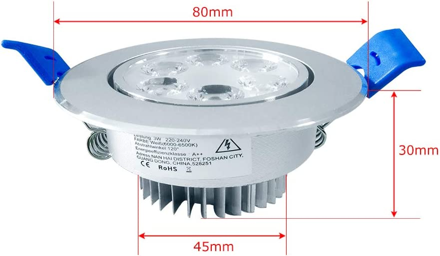 20X3W LED Spot Einbauleuchte Einbau Strahler Set Decken Leuchte Warmweiß Lampe