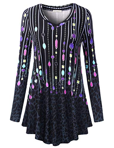 BaiShengGT Women's Loose Fit Flared Tunic Top Small T06 Black Leopard -