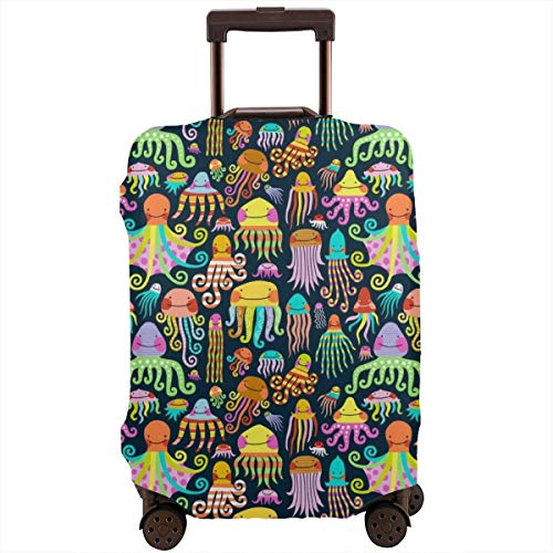 Travel Luggage Suitcase Protector Luggage Case - Rainbow Octopus Squid Jellyfish, High Elasticity Anti-Scratch Baggage Case Zipper Protective Cover, Fits 18-28 Inch Luggage