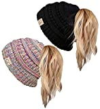 BT2-2-3847-4106 Kids Beanie Tail - 1 Rainbow, 1 Solid Black (2 Pack)