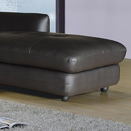 Ac Pacific Ron Collection Modern 2 Piece Upholstered Leather Living Room Set With Sofa Chaise