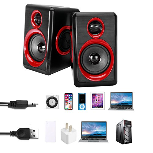 Computer Speakers With Heavy Bass,Subwoofer, Volume Control, 3.5mm Audio, USB Wired Powered Built-in Four Loudspeaker Diaphragm Multimedia Speaker for PC/Laptops/desktop/ASUS/ACER Computer (RED) by TOMOT (Image #5)
